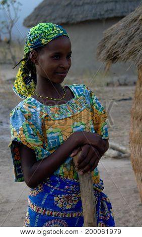 View to fulbe aka fulani tribe woman - 26-02-2014 Tchamba Cameroon