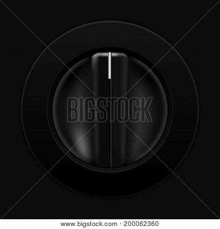 Universal blank selector. Car dashboard black switch. Vector illustration