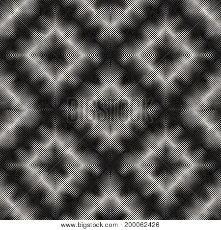 Vector seamless pattern, visual halftone transition effect. Monochrome texture with tiny circles in rhomboid form square, abstract dotted background. Dark design for prints, covers, digital, cloth.