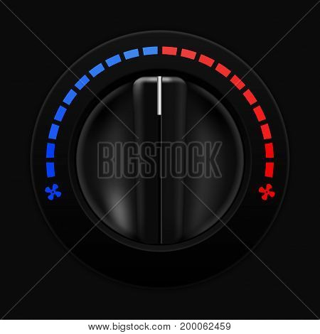 Air temperature selector. Car dashboard black switch. Vector illustration