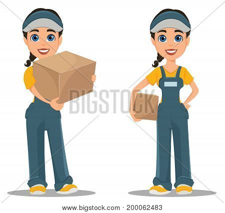 Courier woman holding carton box. Set. Professional fast delivery. Cute cartoon character. Vector illustration.