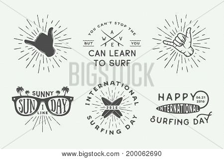 Set Of Vintage Surfing Logos Posters Prints Slogans In Retro Style Vector Illustration Monochrome