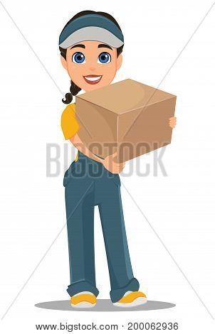 Courier woman standing with parcel. Professional fast delivery. Cute cartoon character. Vector illustration.