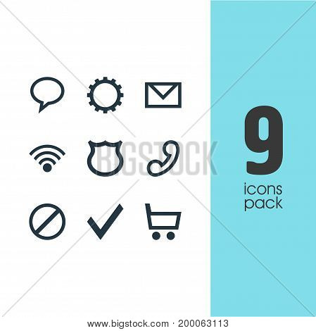Editable Pack Of Cogwheel, Shield, Access Denied And Other Elements.  Vector Illustration Of 9 Member Icons.