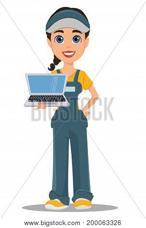 Courier woman holding laptop. Professional fast delivery. Cute cartoon character. Vector illustration.