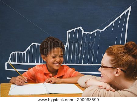 Digital composite of Student boy and teacher at table against blue blackboard with school and education graphic