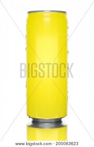3d illustration of a typical yellow energy drink tin