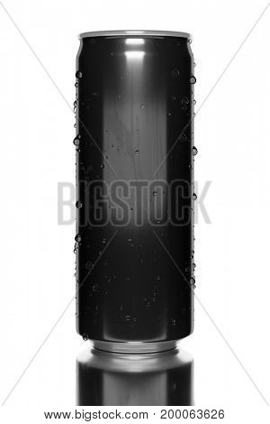 3d illustration of a typical black energy drink tin
