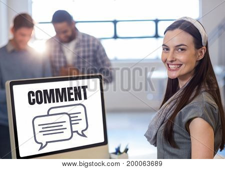 Digital composite of Comment text and chat graphic on computer screen with woman