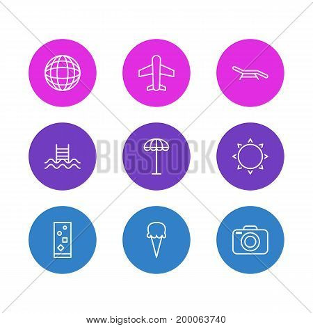 Editable Pack Of Earth, Longue, Sunny And Other Elements.  Vector Illustration Of 9 Season Icons.
