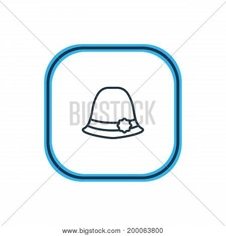Beautiful Dress Element Also Can Be Used As Panama Element.  Vector Illustration Of Elegant Headgear Outline.
