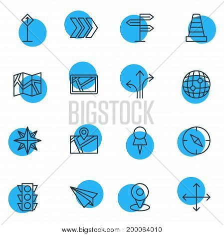 Editable Pack Of Orientation, Navigation, Stoplight And Other Elements.  Vector Illustration Of 16 Navigation Icons.