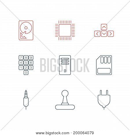 Editable Pack Of Keypad, Game Controller, Storage And Other Elements.  Vector Illustration Of 9 Computer Icons.