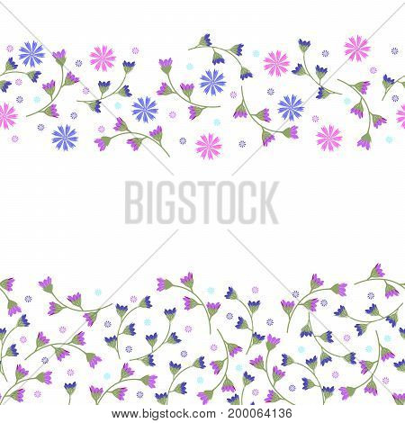 Flowery cornflower on a white background. Floral seamless background for textile book covers manufacturing print fabric.