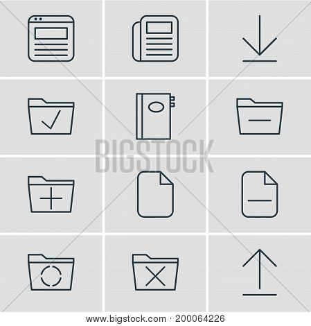 Editable Pack Of Approve, Loading, Downloading And Other Elements.  Vector Illustration Of 12 Bureau Icons.