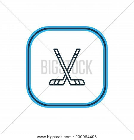 Beautiful Fitness Element Also Can Be Used As Hockey  Element.  Vector Illustration Of Sticks Outline.