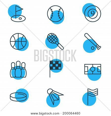 Editable Pack Of Flag, Rocket, Badminton And Other Elements.  Vector Illustration Of 12 Athletic Icons.