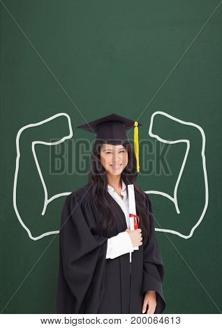 Digital composite of Happy graduate student woman with fists graphic standing against green blackboard