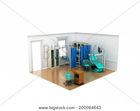 Isometric Dentist Office Blue 3D Rendering On White Background No Shadow