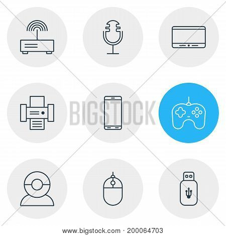 Editable Pack Of Joypad, Usb Card, Cursor Controller And Other Elements.  Vector Illustration Of 9 Hardware Icons.