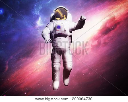 Astronaut Posing On Space Background 3D Render Image