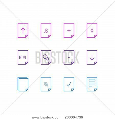 Editable Pack Of Copy, Remove, Percent And Other Elements.  Vector Illustration Of 12 File Icons.