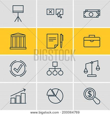Editable Pack Of Columns, Scheme, Solution And Other Elements.  Vector Illustration Of 12 Business Icons.