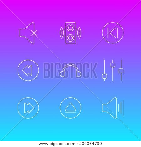 Editable Pack Of Earphone, Amplifier, Preceding And Other Elements.  Vector Illustration Of 9 Music Icons.