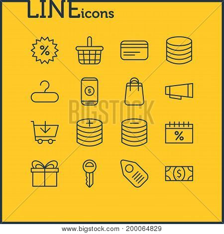 Editable Pack Of Sales, Mobile, Buy And Other Elements.  Vector Illustration Of 16 Commerce Icons.