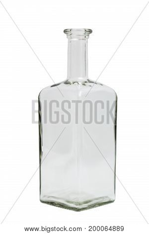 Glass transparent clean empty single shiny beautiful simple square bottle on isolated white background.