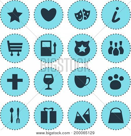 Editable Pack Of Present, Cross, Refueling And Other Elements.  Vector Illustration Of 16 Map Icons.