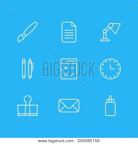 Editable Pack Of Pencil, Illuminator, Watch And Other Elements.  Vector Illustration Of 9 Stationery Icons.