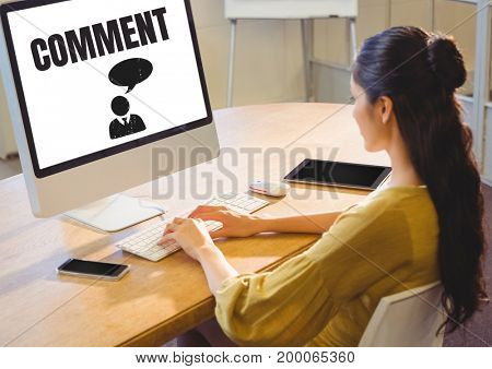 Digital composite of Comment text and chat graphic on computer screen with woman typing