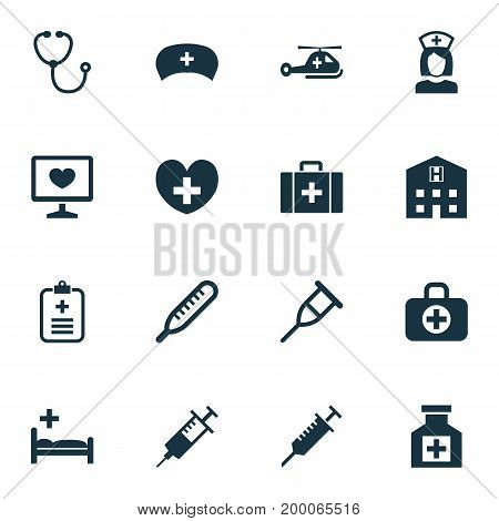 Antibiotic Icons Set. Collection Of Peck, Retreat, Polyclinic And Other Elements