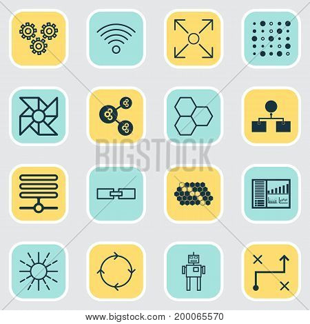 Robotics Icons Set. Collection Of Information Base, Mechanism Parts, Information Components And Other Elements