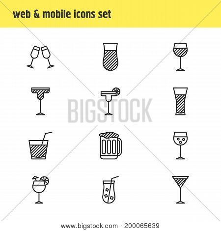 Editable Pack Of Wineglass, Margarita, Celebrate And Other Elements.  Vector Illustration Of 12 Drinks Icons.