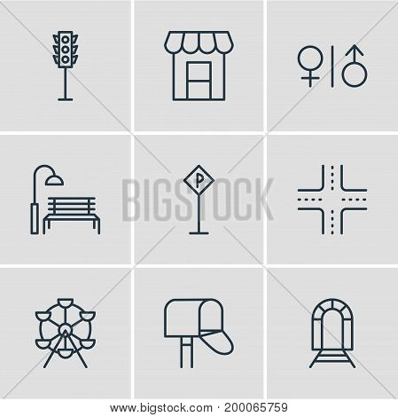 Editable Pack Of Semaphore, Ferris Wheel, Toilet And Other Elements.  Vector Illustration Of 9  Icons.
