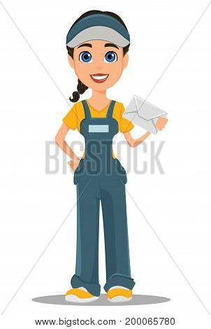 Courier woman holding white envelope. Professional fast delivery. Cute cartoon character. Vector illustration.