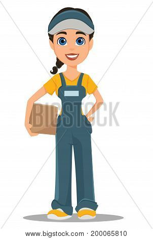 Courier woman holding carton box. Professional fast delivery. Cute cartoon character. Vector illustration.