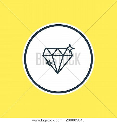 Beautiful Wedding Element Also Can Be Used As Brilliant Element.  Vector Illustration Of Diamond Outline.