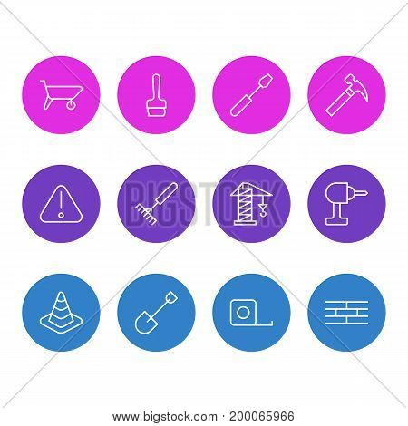 Editable Pack Of Road Sign, Spade, Handcart Elements.  Vector Illustration Of 12 Construction Icons.