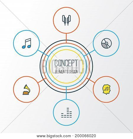 Audio Colorful Outline Icons Set. Collection Of Headphones, Gramophone, Circle And Other Elements