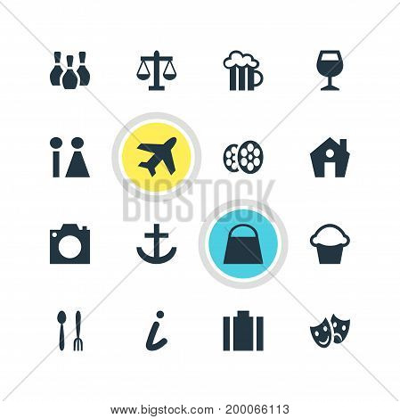Editable Pack Of Masks, Briefcase, Cafe And Other Elements.  Vector Illustration Of 16 Travel Icons.