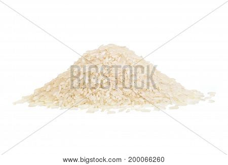 Heap of parboiled rice isolated on white background. Copy space close up high resolution product. Healthy food concept