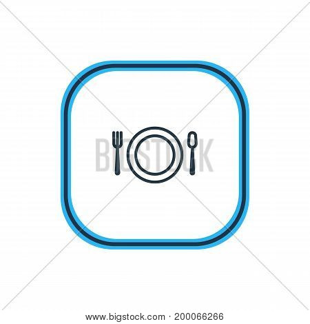 Beautiful Banquet Element Also Can Be Used As Cutlery Element.  Vector Illustration Of Dish Outline.