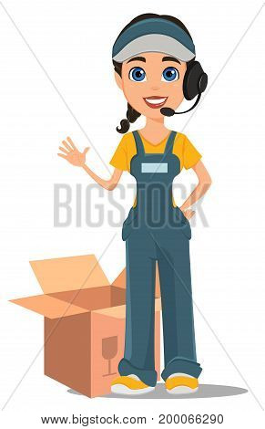 Courier woman with headset accepts an order standing near opened box. Professional fast delivery. Cute cartoon character. Vector illustration.
