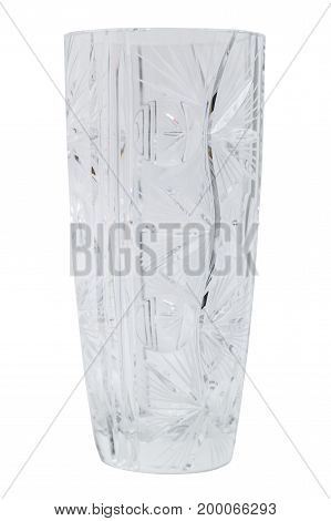 Glass transparent clean empty single shiny beautiful stylish elegant vase for flowers or water on isolated white background.