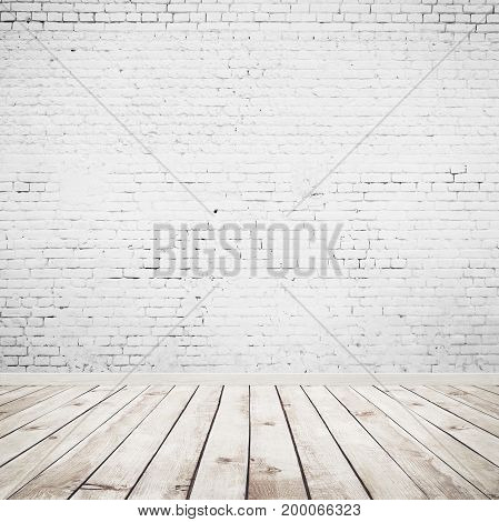 room interior vintage with white brick wall and wood floor background