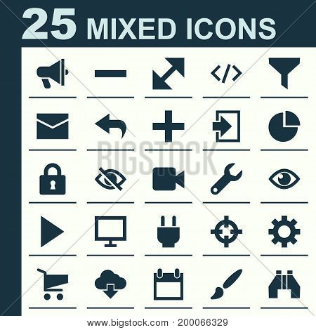 User Icons Set. Collection Of Plus, Return, Options And Other Elements