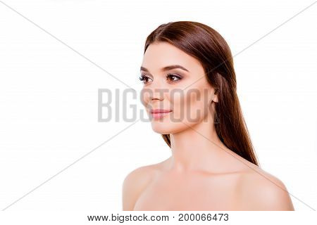 Beauty Advertisement Concept. Cropped Photo Of Young Gorgeous Brunette Lady. Her Hair And Skin Are S